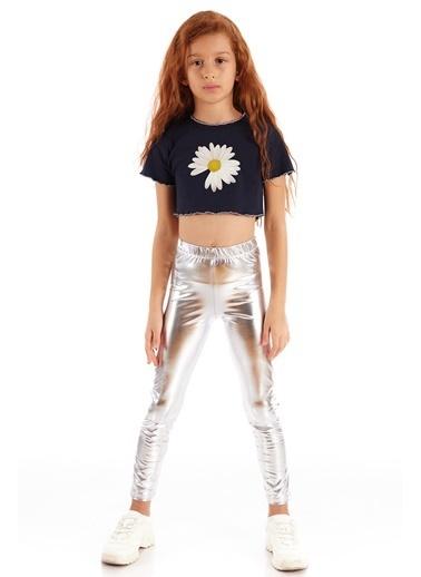 Colorinas Trim Crop T-Shirt Lacivert